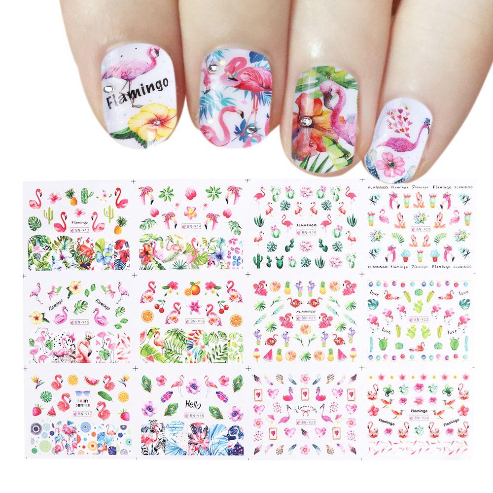 Großhandel 12 Designs Flamingos Nail Art Sticker Blume Grün Blätter