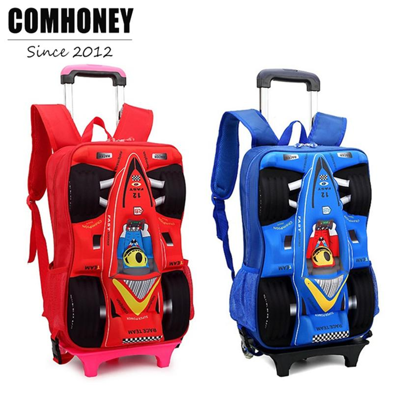 cb5eb1acb8e 3D Car Shape Children S Backpack Trolley School Bag For Boys School  Backpacks For Girls Kids Travel Rolling Luggage Schoolbags Rolling Backpack  For School ...