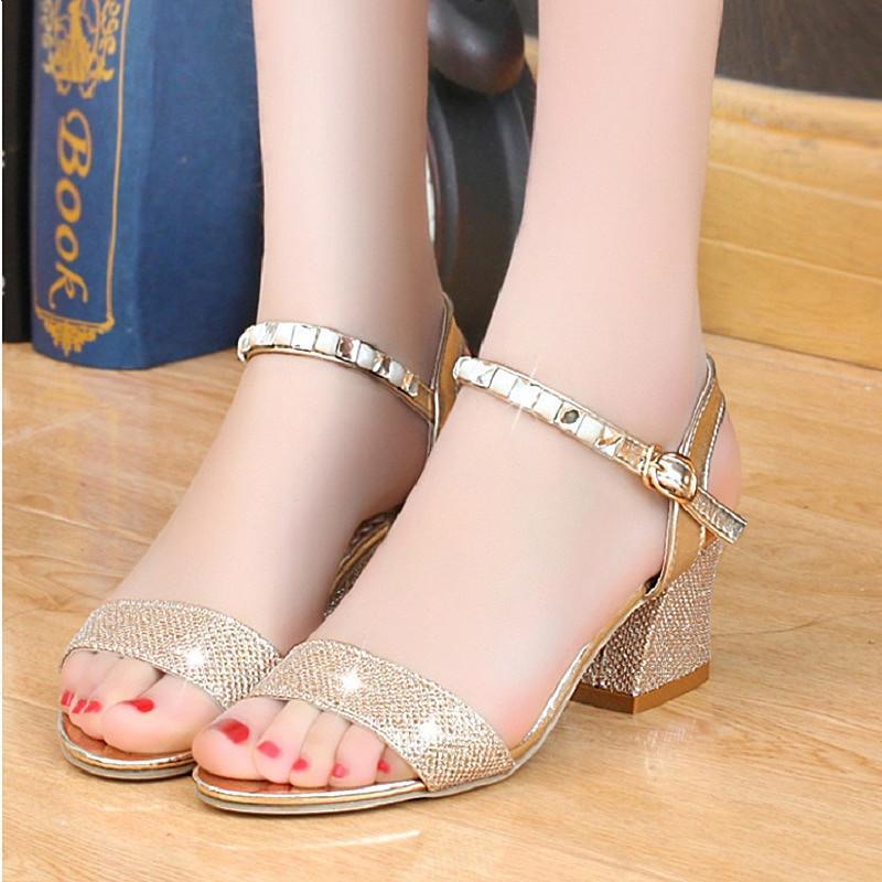 Femme Chaussure Chaussures Talons Sandales Hauts Mode Cristal D'été Sexy Argent Femmes Or Dames KFTclJ1