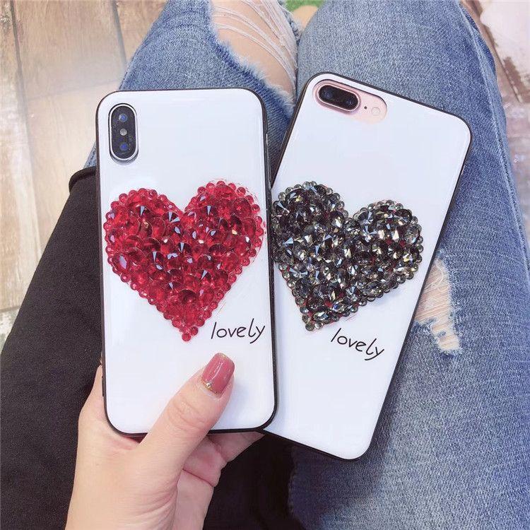 For iPhone X 8 7 6 Plus Bling Rhinestone Phone Case LOVELY Love Heart Shape  Diamond Style Mobile Phone Back Cover Shell