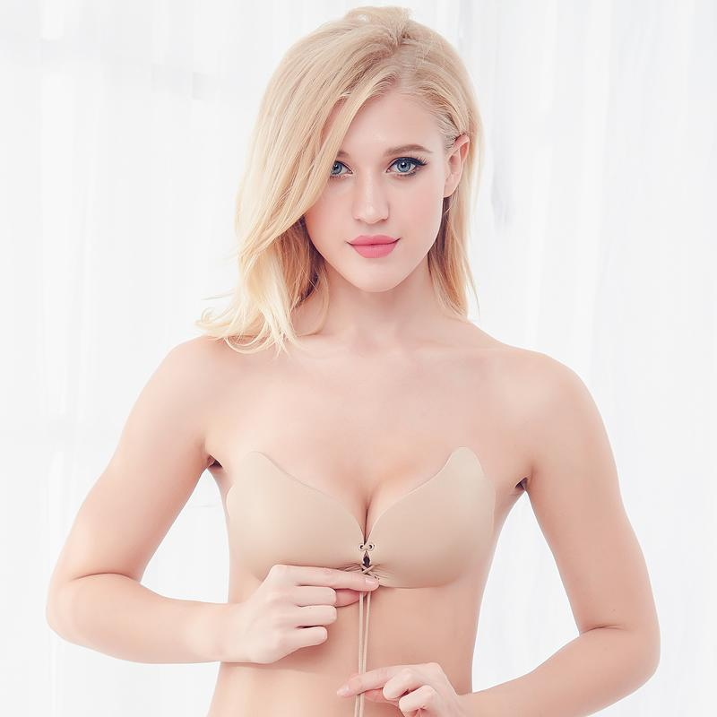 a2457d31d7 2019 Soutien Gorge Bralette Nubra Self Adhesive Strapless Bandage Stick Gel Silicone  Push Up 1 2 Cup Cotton Drawstring Invisible Bra From Insightlook
