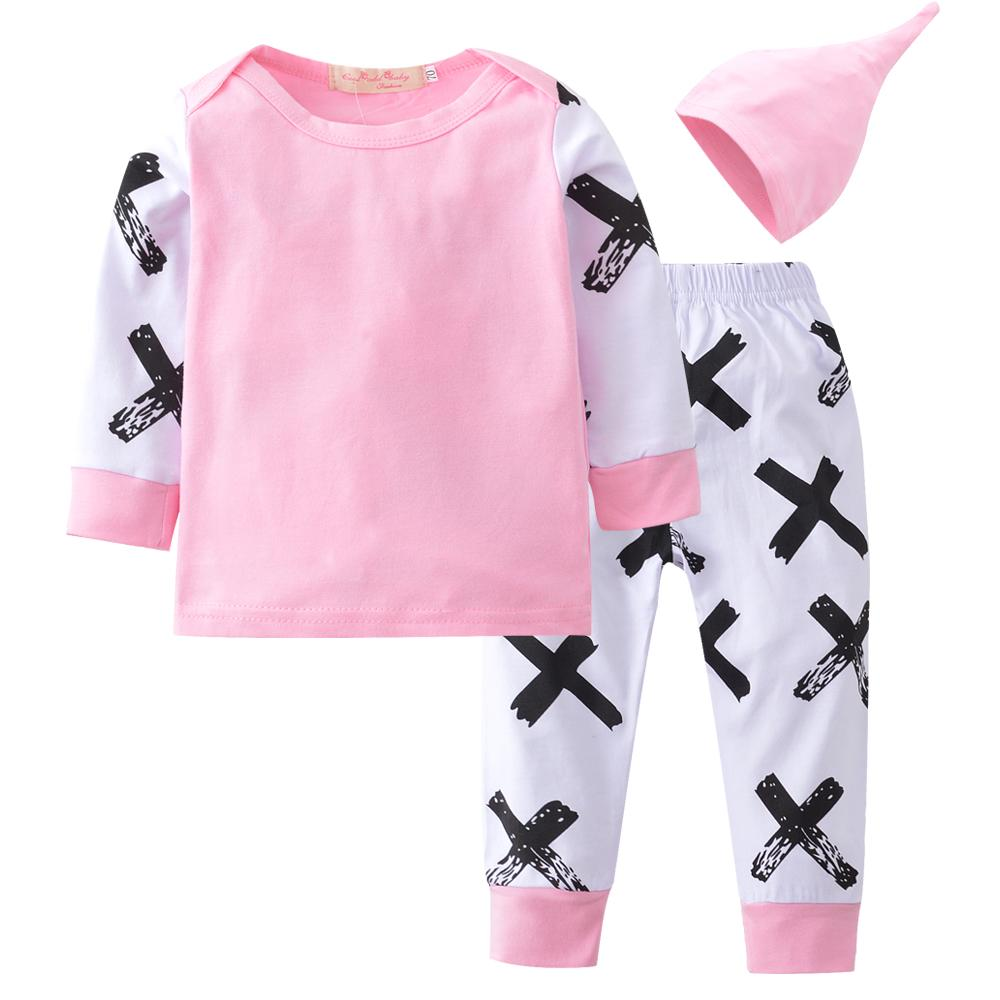 0a1baa55fd16f Fashion Baby Clothing 2pcs Newborn Baby Girls Clothes Coats T-shirt Tops+Floral  Pants+hat 2018 new style Outfits Set