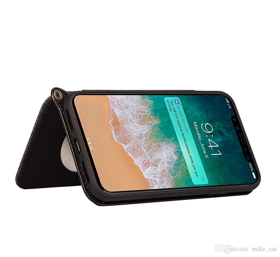 Holder Phone Case Cotton linen Soft TPU with lanyard Smart Kickstand Mirror View Flip Cover case For iphone 6 7 8 X samsung S8 S8 plus note8