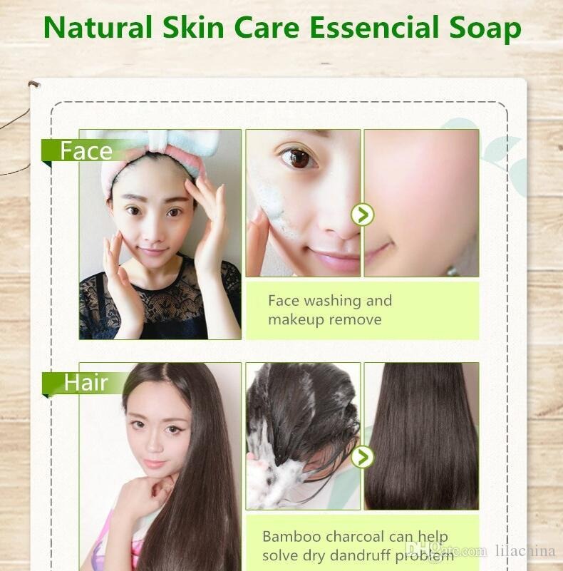 Mais novo removedor de cravo Natural tratamento da acne rosto lavar cabelo cuidados com a pele do banho Sabão carvão de bambu sabonete artesanal clareamento da pele sabão