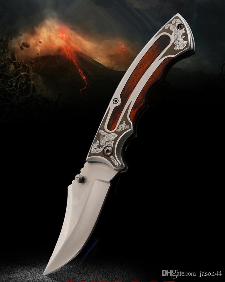 Açık yüksek sertlik katlanır bıçak çelik + renkli ahşap saplı kavisli bıçak