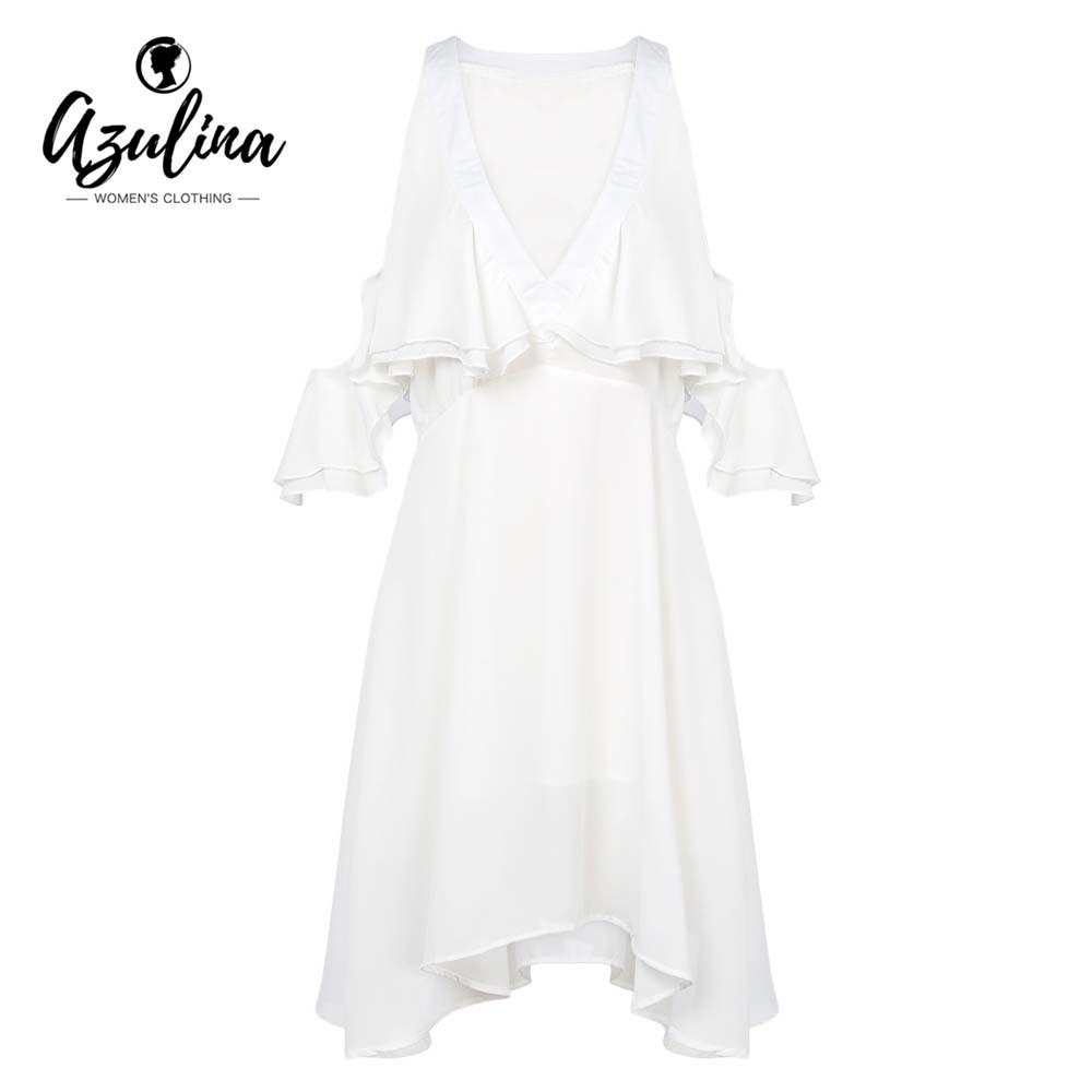 20187 AZULINA Summer Women Dress Plunge Neck Cold Shoulder Layered Flounce  Short Sleeve Chiffon Dresses Sexy Party Dress Vestidos 2018 Sundress On  Sale ... 3699eb642