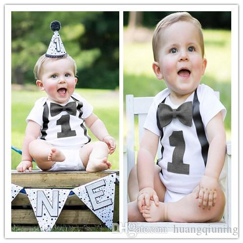 2019 Baby Boy 1st Birthday Romper Toddler Boys Summer Clothes Infant Jumpsuits For 1 Year Old Little White Gentleman Casual Rompers 12M From