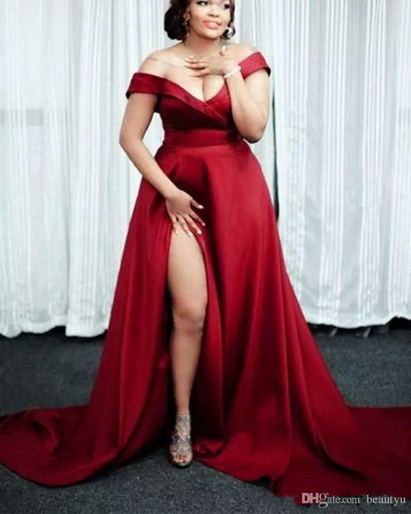 Burgundy Plus Size Prom Dresses 2018 Off The Shoulder Satin Sexy