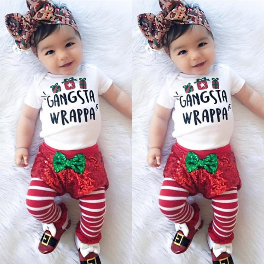 2019 Baby Clothing Newborn Girls Bodysuit Tops+Shorts Pants Christmas  Outfits Short Sleeve Cotton Letter Printed Baby Girl Clothes From Heathera,  ... - 2019 Baby Clothing Newborn Girls Bodysuit Tops+Shorts Pants