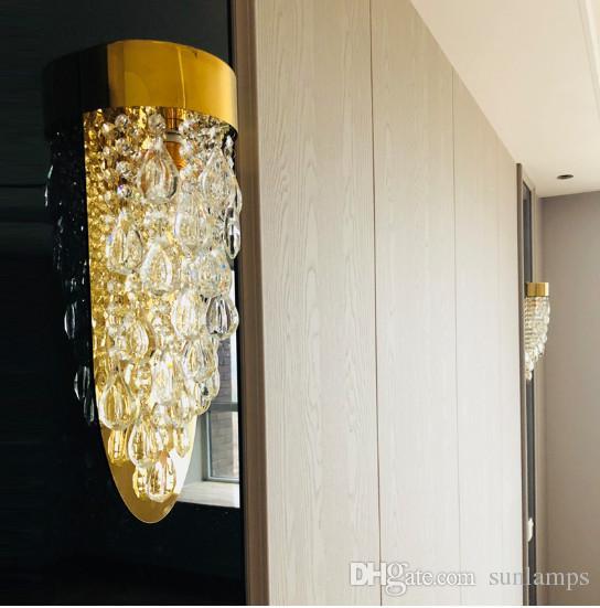 Appliques Style Innovative Applique Inoxydable Vestibule Cristal Regron Antechamber Salon Italien Acier Chevet En Murale Led reWxodCB