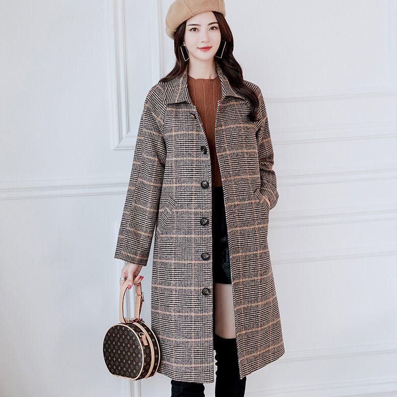 2081548ef90d 2019 New Woolen Coat Female Long Korean 2018 Autumn Winter Women Wool Jacket  Casual Belt Plaid Cashmere Overcoat Girl From Loco1314
