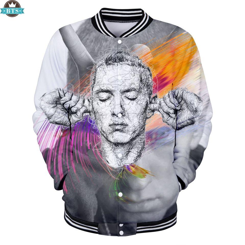 Compre EMINEM Famous Rapper 2018 Chaquetas De Béisbol Mujeres   Hombres Hip  Hop Moda 3D Impreso Steetwear Chaqueta EMINEM Ropa Casual Tallas Grandes A  ... 8d2096692c2