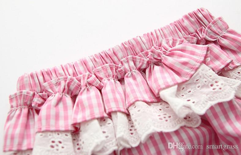 Striped 2 peça vestido conjunto de algodão bebê menina roupas curtas calças bonitos sem costas verão mini vestidos conjuntos 18050401
