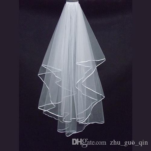 2018 White Ivory Bridal Veils 2 Layers With Comb Pearls Ribbon Edge Tulle Veil for Church Wedding Bride In Stock