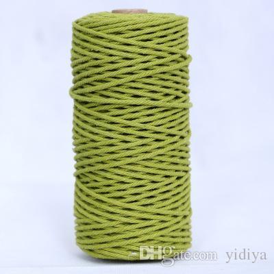 3mm * 100 m Algodón Cuerdas de Cable Herramienta Craft DIY Cordón Macrame Colgante de Pared Colgador de Plantas Fabricación Artesanal Cuerda de Tejer Cuerda Twine para Artesanía