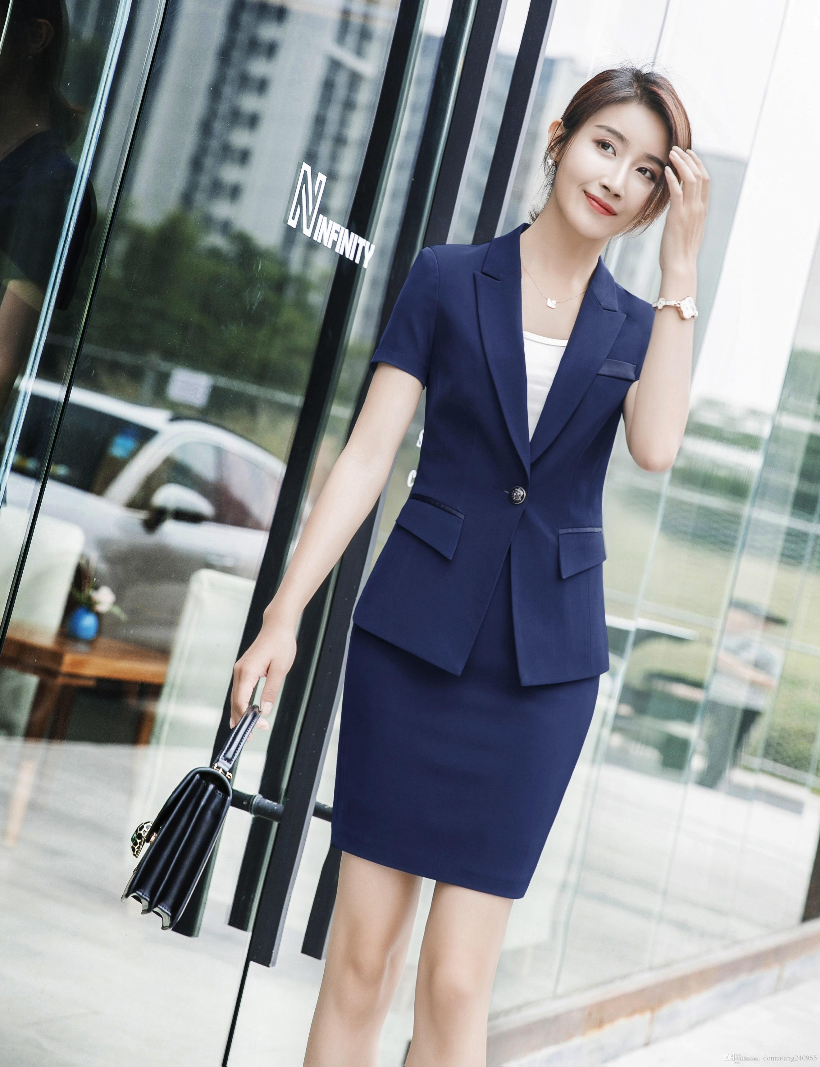4563827fd17 2019 Plus Size Stripe Skirt Suits Summer Style 2018 Women Business Suits Formal  Office Work Wear Elegant Short Sleeve Blazer Skirt Suit From  Donnatang240965 ...