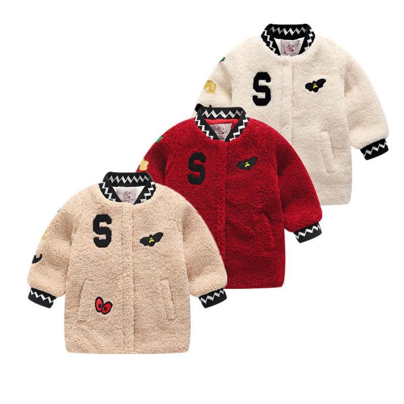 6d148c55b Baby Girls Winter Coat Children Outfit Faux Fur Fleece Coat For ...