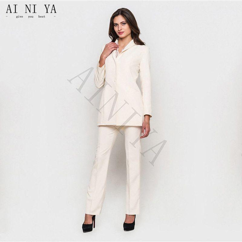 94d8278a9a Compre Nuevos Diseños De Mujer Trajes De Negocios De Marfil Blazer Para  Ropa De Trabajo Para Mujer Traje Formal Pantalón Uniforme De Oficina Traje  De ...