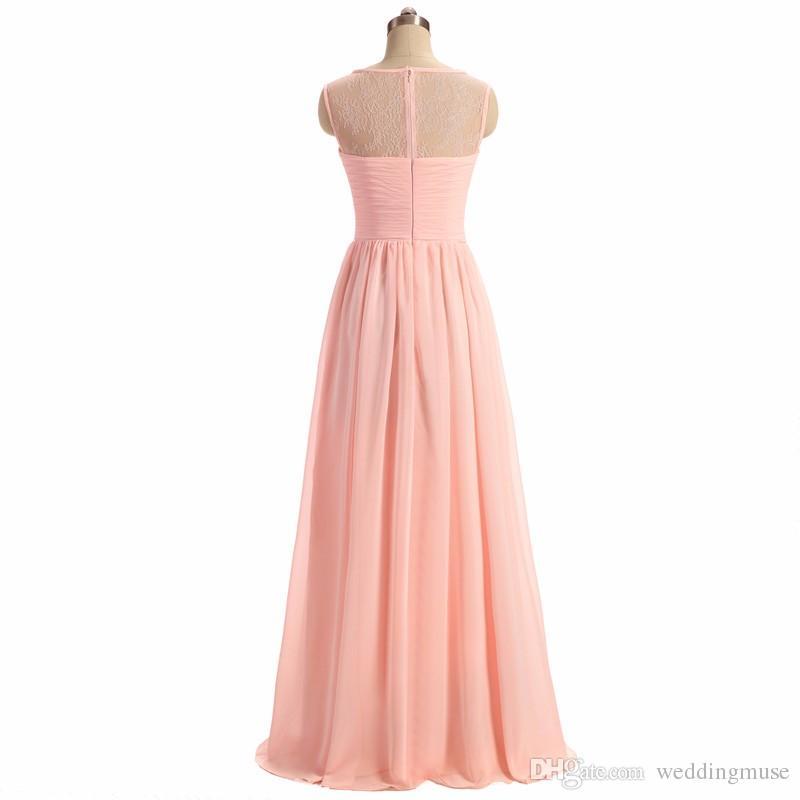 Donne damigelle damigella d'onore 2021 luce rosa a-line illusione del laccio scollatura senza maniche senza maniche lunghe onore abiti occasioni speciali il matrimonio