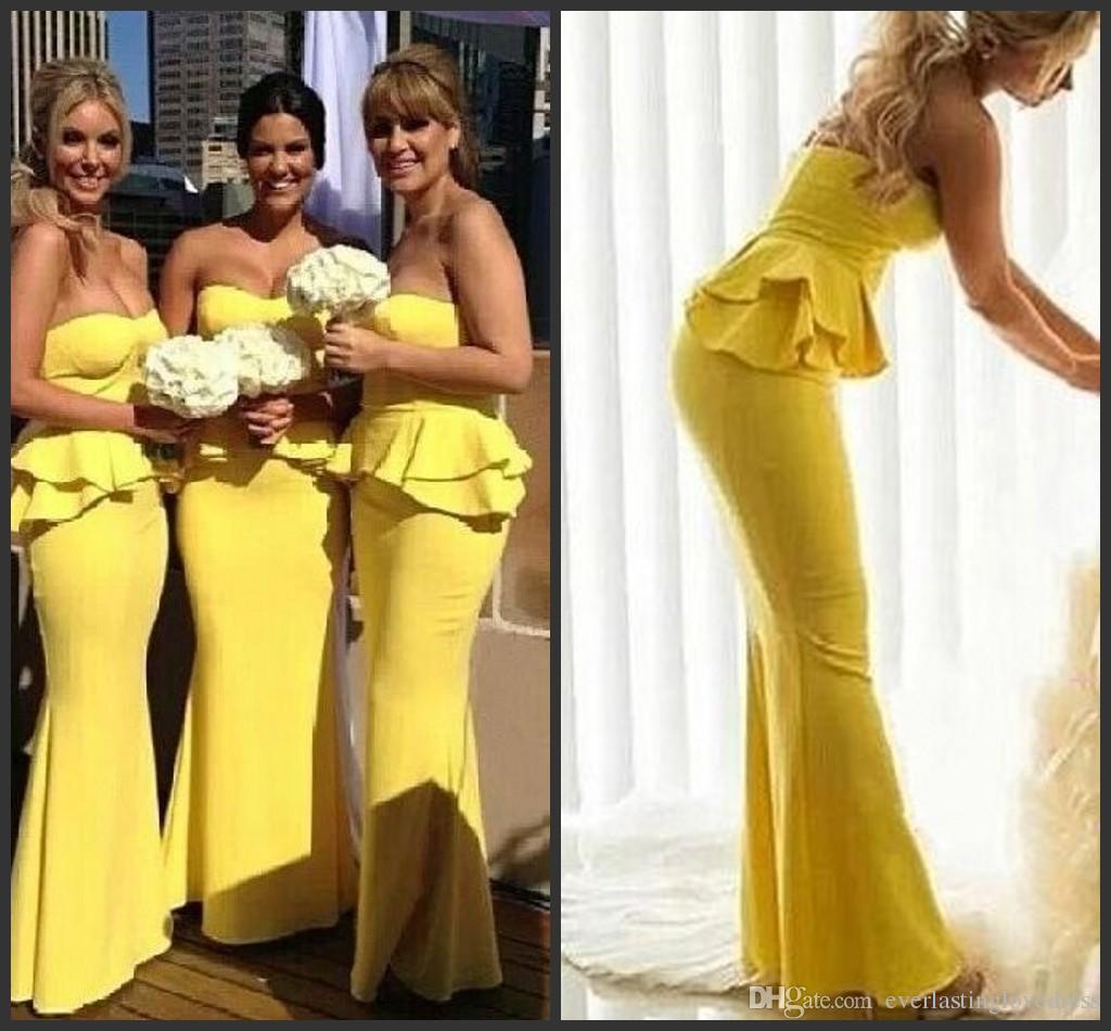 Longitud del piso sin tirantes sirena amarillo brillante vestido de fiesta de bodas Ruffles vestidos de dama de honor largos del Peplum robe de demoiselles d honneur