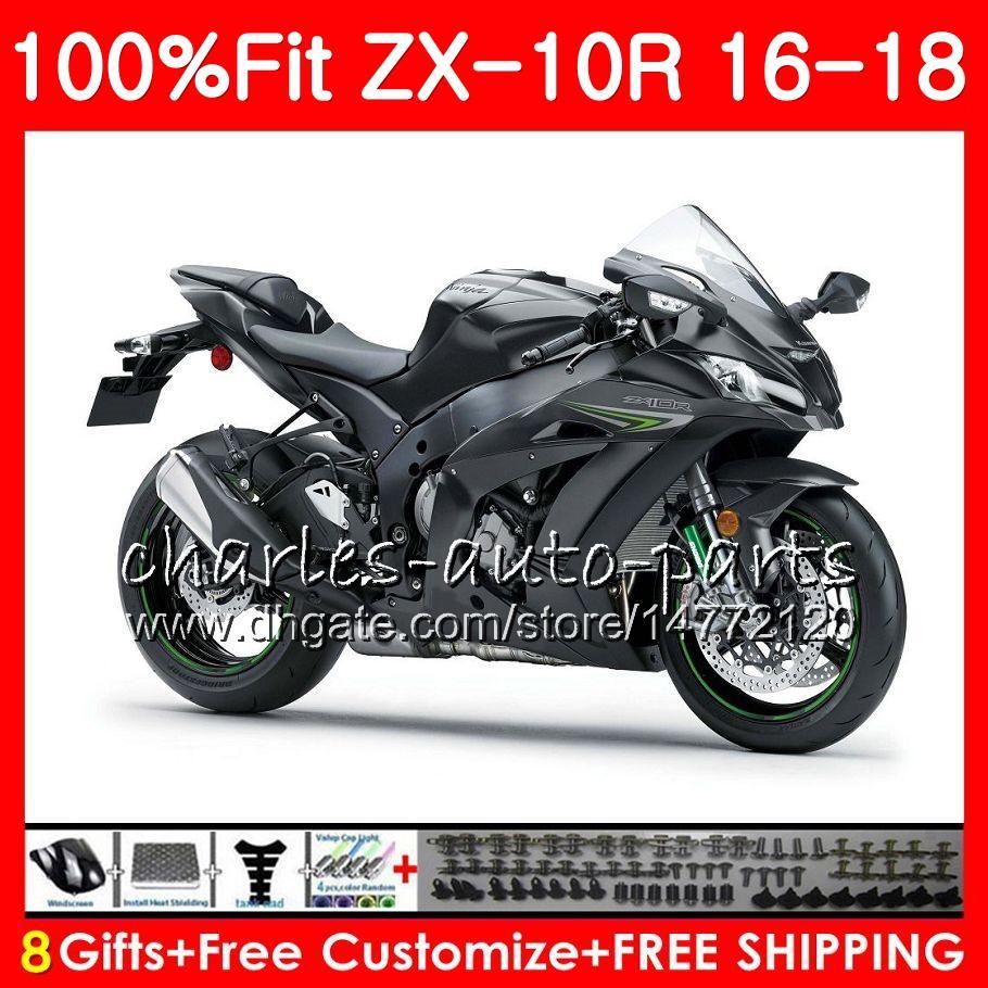Injection For Kawasaki Ninja Zx 10 R Flat Black 1000 Zx 10r Zx10r 16