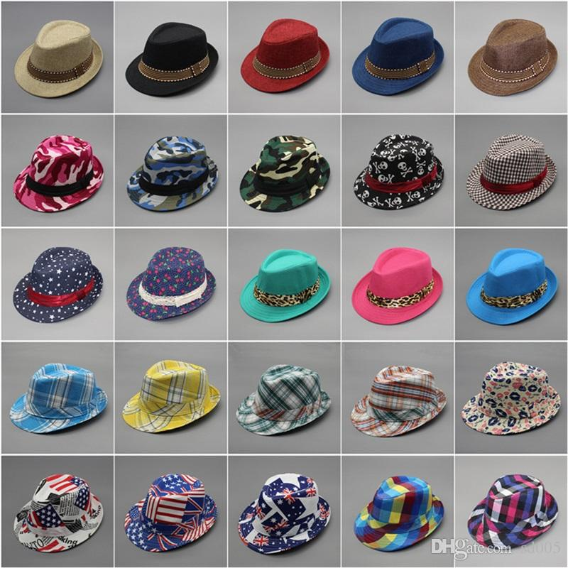 1828044aacb 2019 Fashion Cool Children Cap Mixing Style Hot Sale Jazz Caps For Boy Girl Hat  Newborn Photography Prop Trilby 6 8gn Aa From Sd005