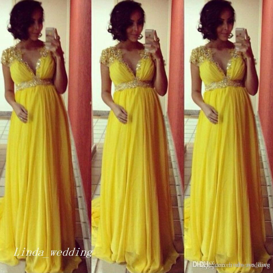 3505713d4 Compre 2017 Amarillo Baby Shower Party Dress Nuevo V Cuello Largo De Las Mujeres  Embarazadas Formal Ocasión Especial Dress Vestido De Noche Más Tamaño ...