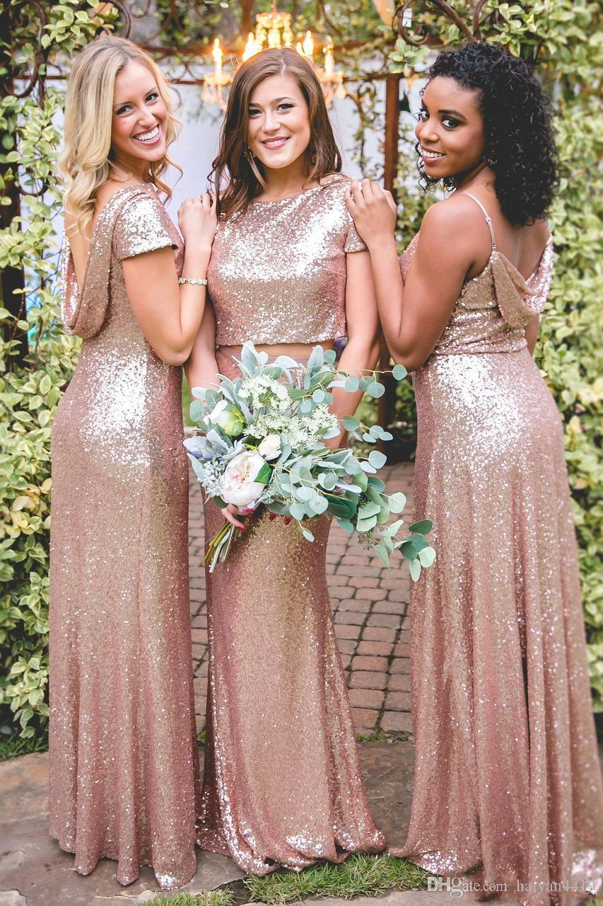 2019 Bling Sparkly Bridesmaid Dresses Rose Gold Sequined Cheap Mermaid Two  Pieces Backless Sequins Beach Party Dresses Wedding Guest Dress Bridemaid  Dresses ... be94c0590ce8