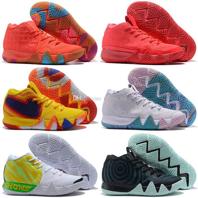 huge discount 63045 f025a Acheter 2018 Nouveau Kyrie Irving 4 Chaussures De Basket Ball De Vente Pas  Cher Sneakers Sports Hommes Chaussure Wolf Gris Équipe Rouge Baskets Plein  Air ...