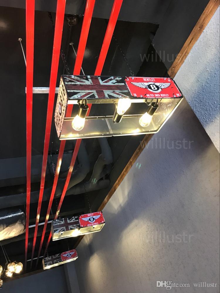 خمر لوحة ترخيص مصباح قلادة الرجعية عدد الحديد لوحة تعليق المعدنية الخفيفة الإضاءة غرفة الطعام مطعم مقهى فندق متجر علوي