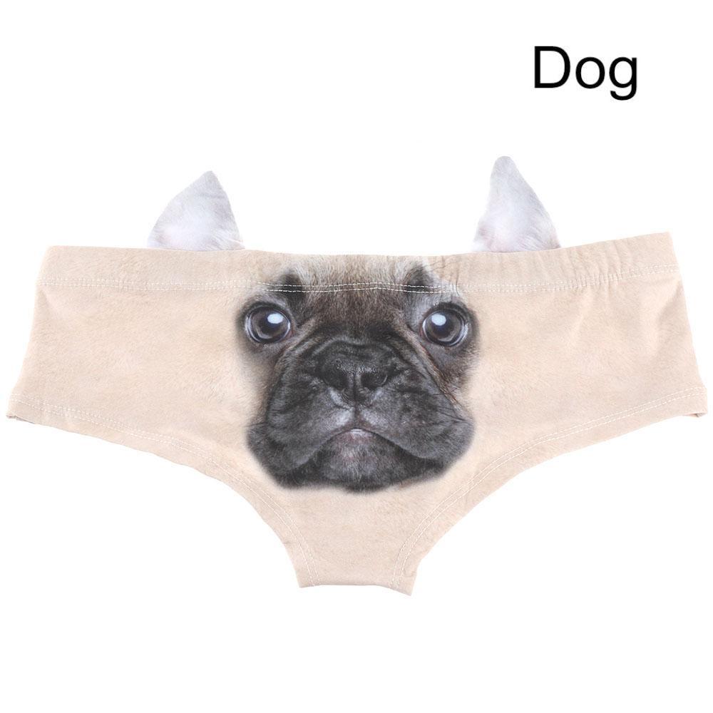 Sexy Women Fashion 3D Animal Cats Dog Print Cartoon V-string Briefs Soft Elastic Underpant Panties Thong Underwear 2017 Hot
