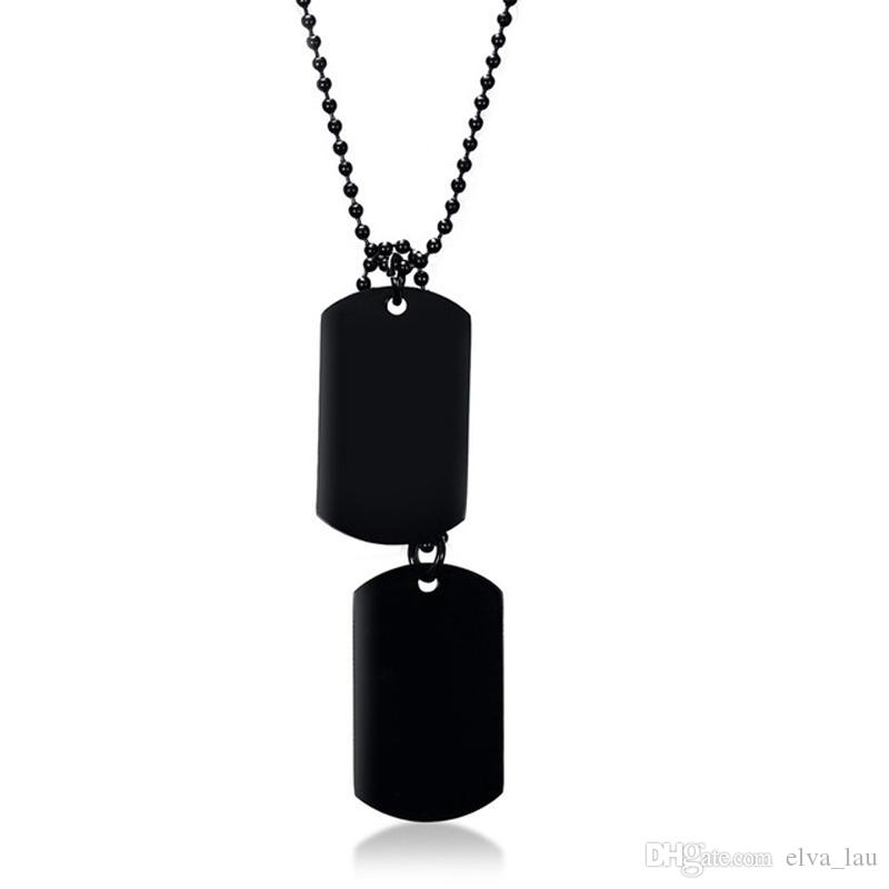 "Black Stainless Steel Double Dog Tag Necklace for Men High Polished Pendant ID Men Jewelry 24"" Chain Necklace 3 Colors"