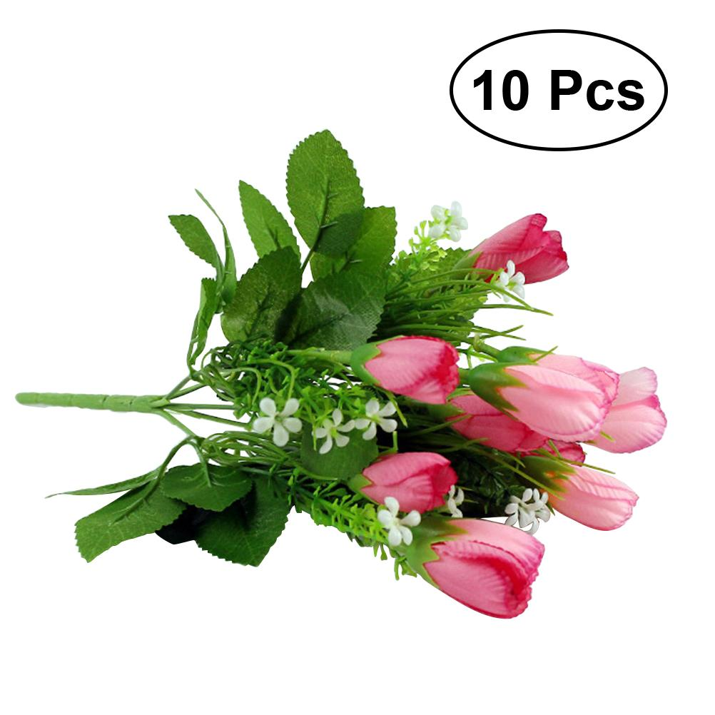2018 Artificial Tulip False Faux Silk Flower Wedding Home Bouquet ...