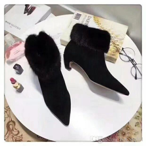 Women Fashion Pointed Toes Leather Feather Ankle Boots Girls Mixed Color Feather High Heel Ankel Boots Girls Short Plush Fashion High Heel