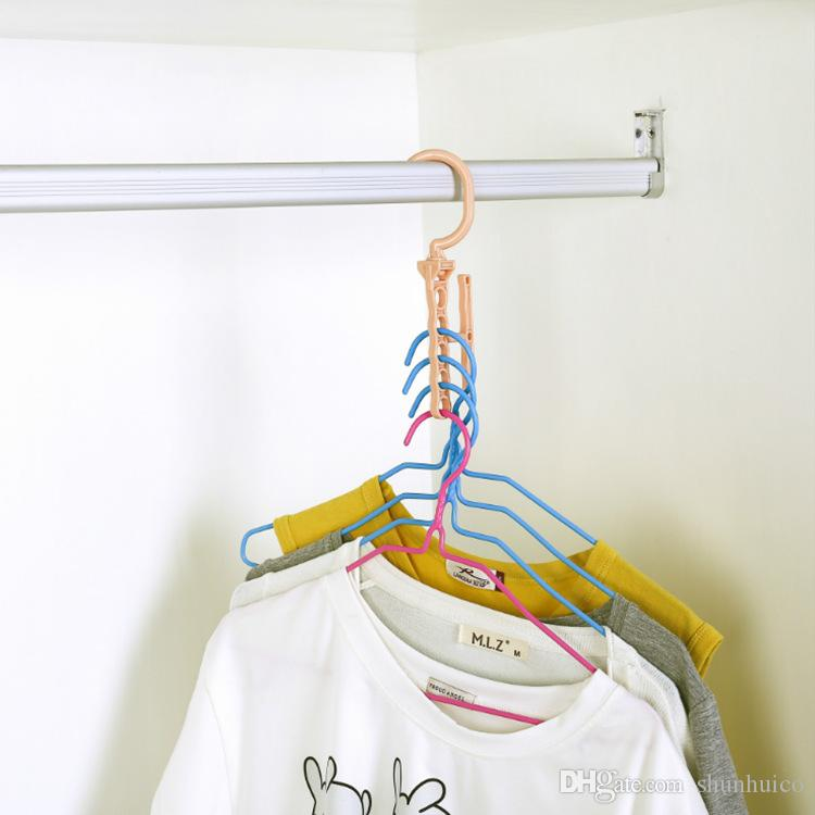 Multifunction clothes hanger magic creative dress hanger five holes racks with handle 360 degree rotate save space housekeeping tools