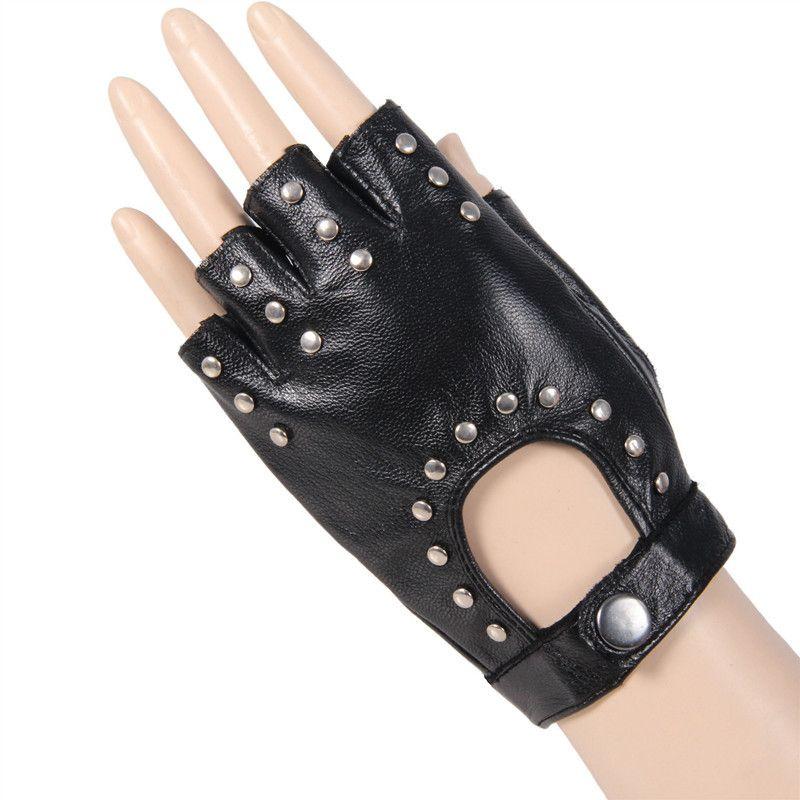 179ad33de88d4 2019 Yang Zhi Yuan Summer Women Thin Leather Gloves Half Finger Gloves  Summer Dance Short Cropped Punk Studded Finger Leather Glove From Fengzh,  ...