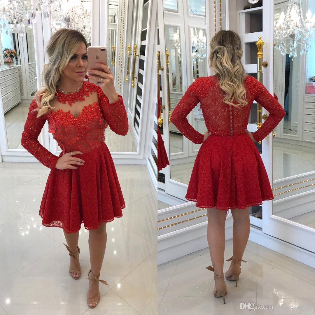 Short Red Cocktail Prom Dress Long Sleeve Applique Sequin Beaded Elegant Tulle Hollow Back Designer Custom Homecoming Graduation Gowns