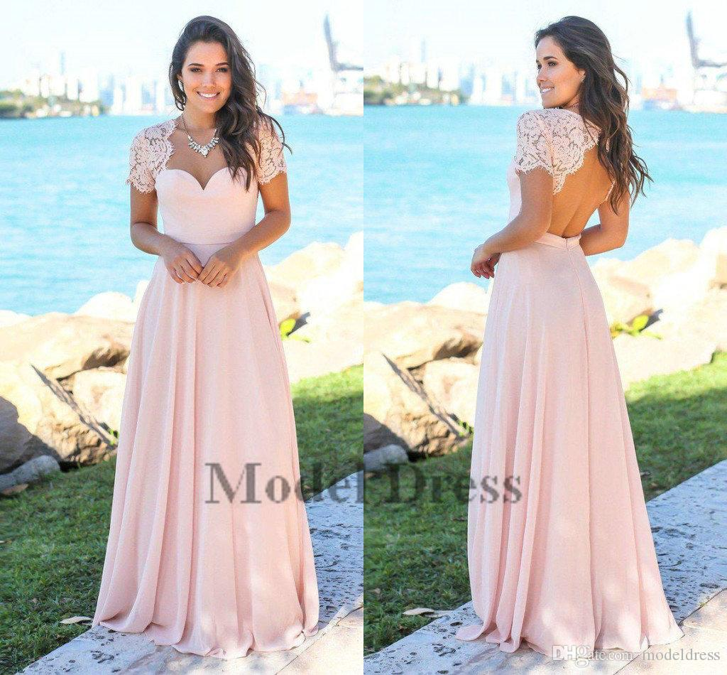 2018 Elegant Bridesmaid Dresses Pink Open Back Short Sleeve Lace Top A Line Chiffon Cheap Maid of Honor Dresses for Beach Wedding Guests