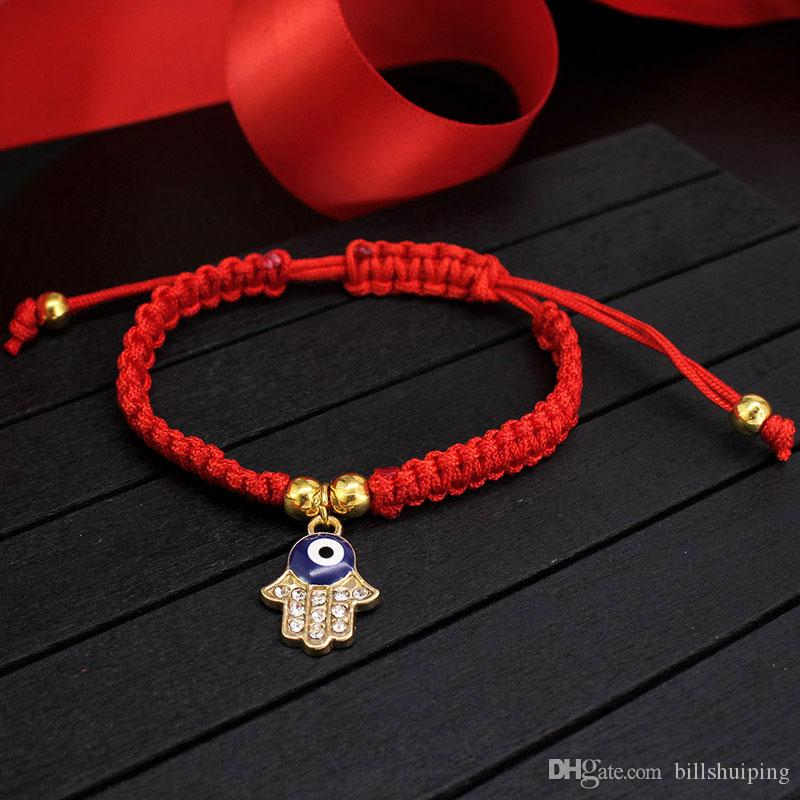 China Red String Bracelet Evil Eye Palm Bead Protection Health Luck Happiness Charm Bracelets Jewelry