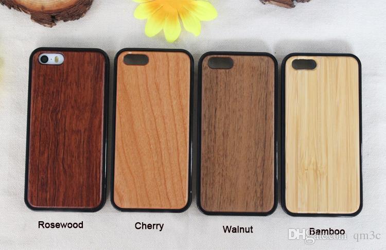Cas En Bois Véritable Pour iphone X 10 5 5S SE 6 6 S plus 7 8 Bois TPU Cas Bambou Couverture de Téléphone Mobile Pour Samsung S9 S8 Note 8 s7 bord