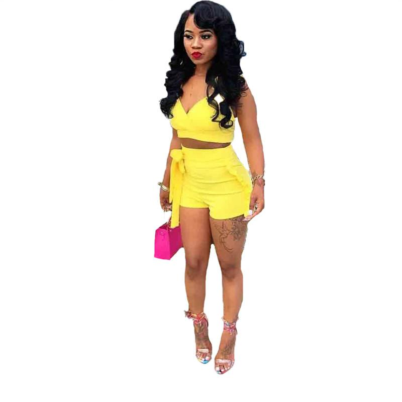 8f9d0c404eeed Two Piece Set 2018 Summer women crop tops High Waist Shorts 2pcs Ruffles  Bow outfits Ladies Yellow Slim matching Clothes sets