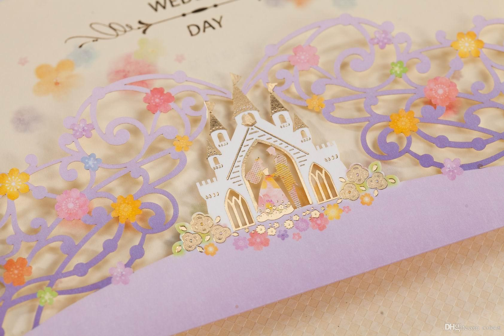 Wedding Invitations Cards Personalized Purple Castle Laser Cut Wedding Invitation with Flowers Europe Style Free Printing