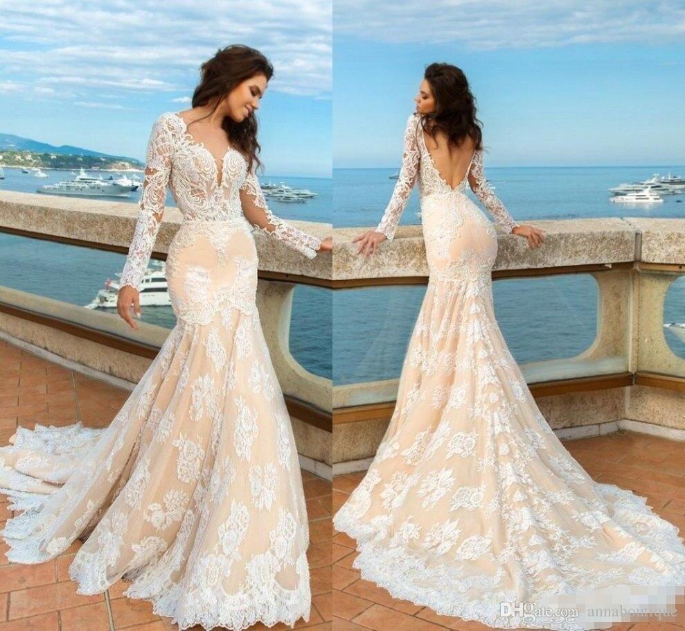 2018 Champagne Mermaid Lace Wedding Dresses Long Sleeves Beach Boho ...