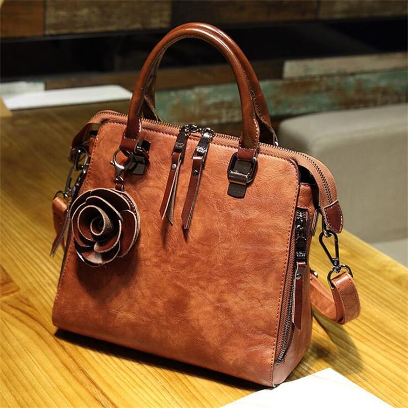 ea5b058b13 Bolsa Feminina Genuine Leather Handbag European Retro Style Tote ...