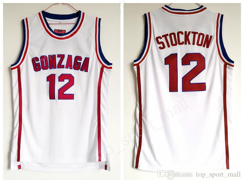 08d8cf223d59 2019 Gonzaga Bulldogs Basketball John Stockton Jersey 12 High School Team  White Color Stockton Bulldogs Jerseys Breathable Sport From Top sport mall