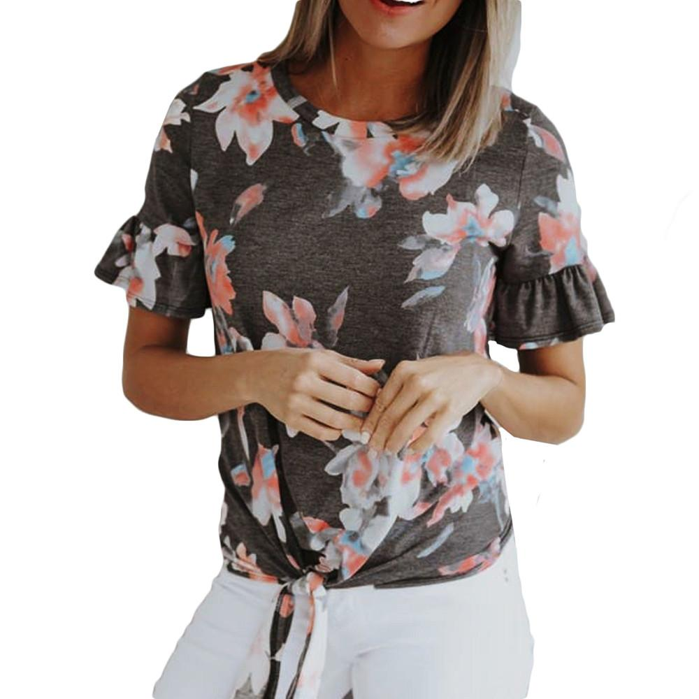 10958661750 2018 Womens Fashion Casual Short Sleeve O Neck Tee Female T Shirt Loose  Vetement Flower Printing Tops Summer Women S T Shirts Cool Looking T Shirts  Buy ...