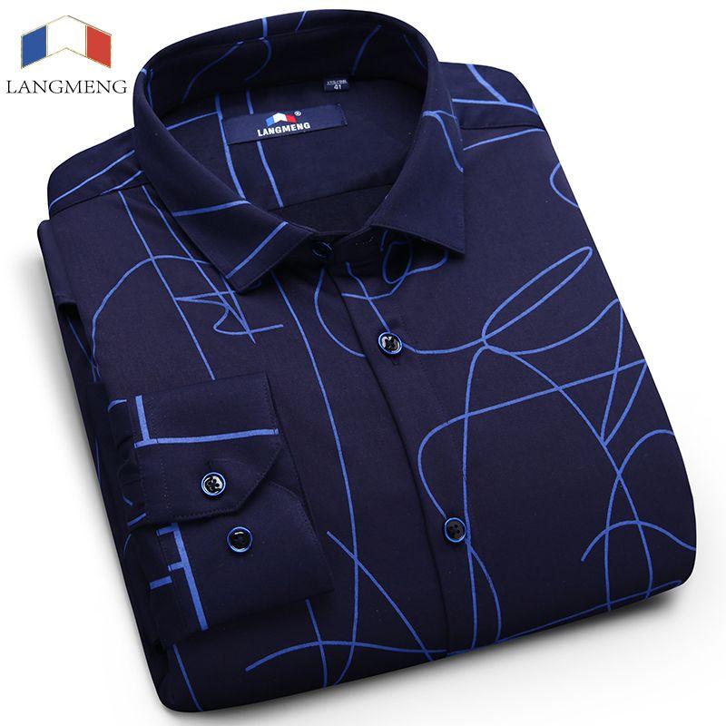 dcea77b0079977 2019 Langmeng 2017 New Fashion Mens Shirt Long Sleeve Dress Shirt Men  Business Casual Shirts Slim Fit Winter Warm Shirts Thick Fabric From Paluo,  ...