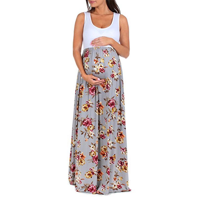 4fdb490eea966 Women Summer Pregnant floral Maxi Dress Maternity Photography Sundress O  Neck Floral Lace Sleeveless Nursing Maternity Dress
