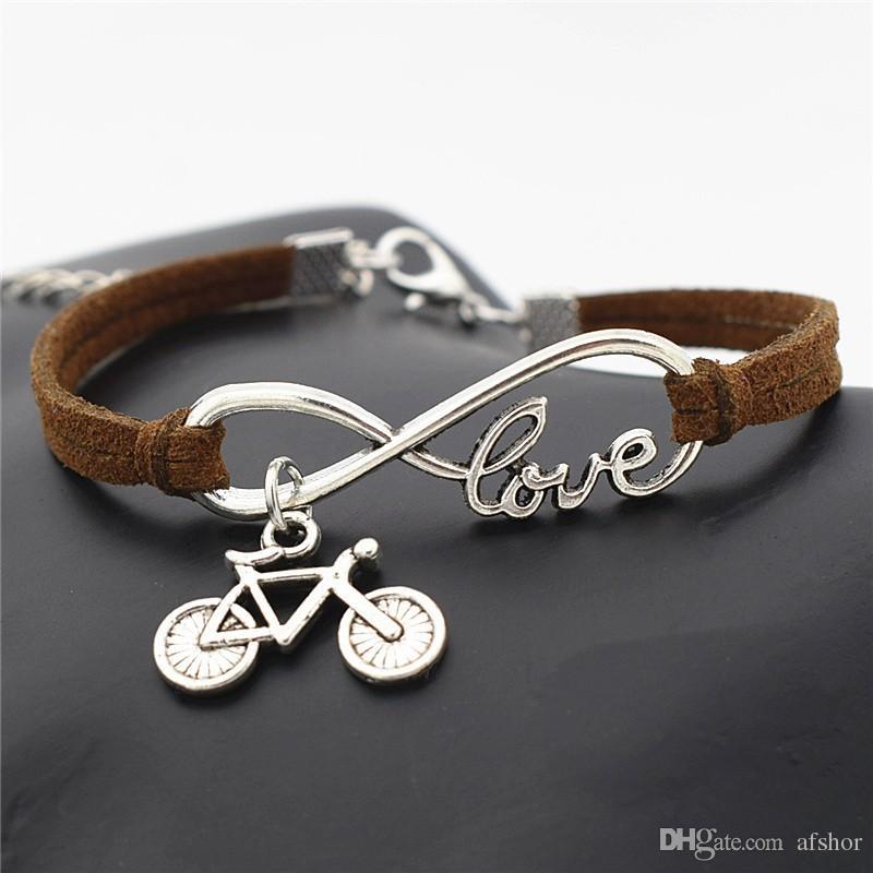 AFSHOR Europäischen Populären Frauen Punk Silber Unendlichkeit Liebe Niedlich Fahrrad Radfahren Fahrrad Charms Leder Armband für Frauen Männer Sommer Geschenk Schmuck