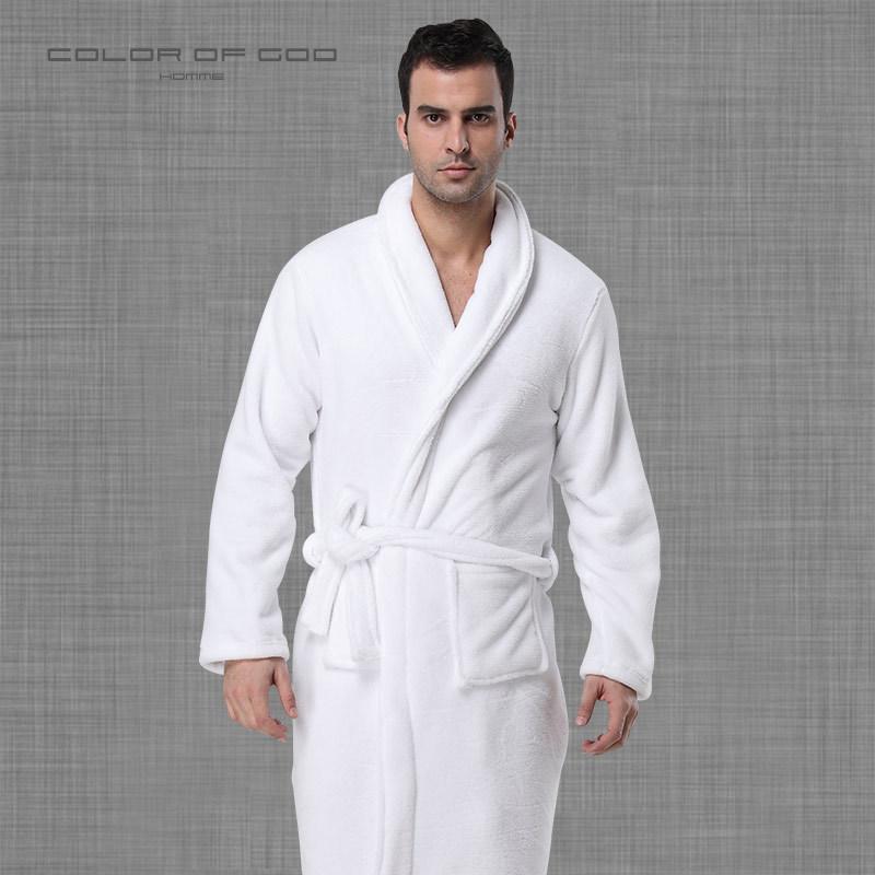 2019 Brand 100% Cotton Mens Bathrobe Thick Warm Winter Night Dressing Gown  Pure White Ropa Hombre Bath Robe Lounge Homme Kimono From Salom 5b0383f96